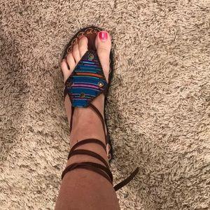Shoes - Serape leather wrap sandal